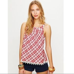 Free People Red Plaid Crochet Babydoll Tank Top S